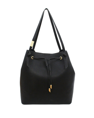 WILDHEART LARGE DRAWSTRING TOTE IN BLACK