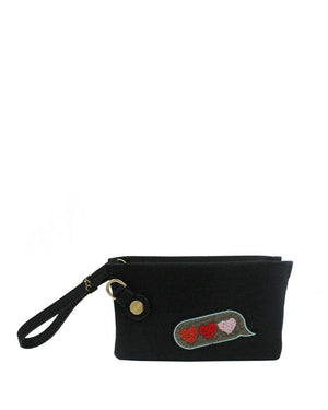 Prive Wristlet in Black Bubble Patch