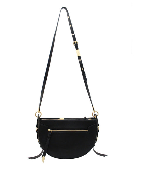 WILDHEART LIBERATED LEATHER CROSSBODY HOBO IN BLACK