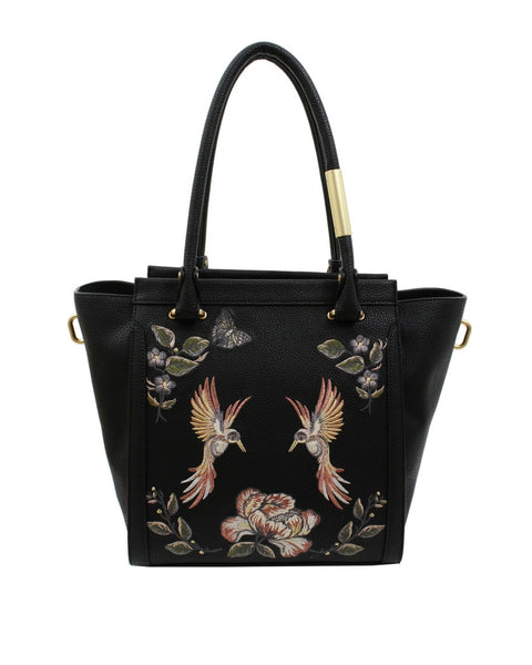 MA CHERIE TAYLOR EMBROIDERY TOTE IN BLACK