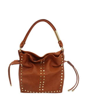 Riley Drawstring Tote in Honey Brown