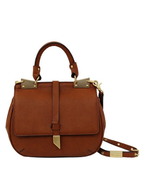 DIONE LIBERATED LEATHER SADDLE  BAG IN COGNAC