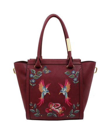 MA CHERIE TAYLOR EMBROIDERY TOTE IN BERRY SANGRIA