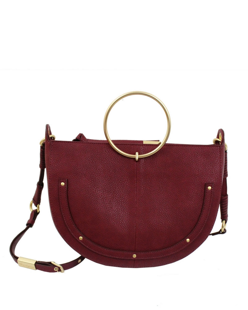 Products Page 9 Foley Corinna Ziggy Satchel Brown Tyler Crescent In Berry Sangria