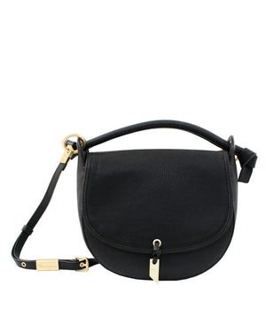 VIOLETTA LIBERATED LEATHER SADDLE BAG IN BLACK