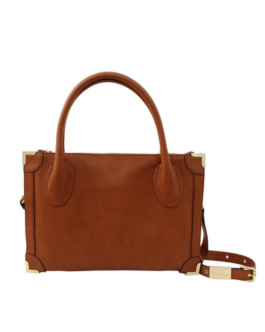 FRANKIE LIBERATED LEATHER SATCHEL IN COGNAC