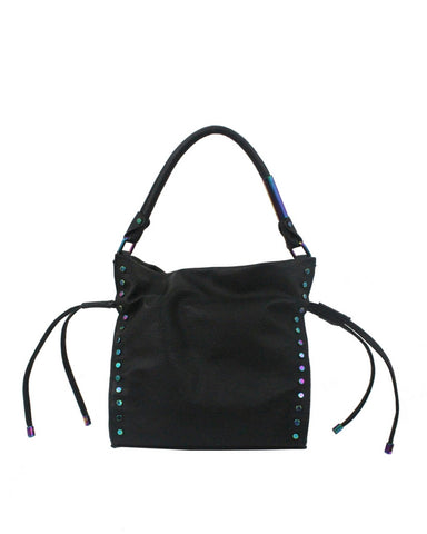CITY INSTINCTS DRAWSTRING TOTE IN BLACK