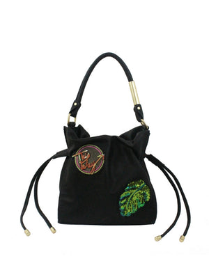 City Instincts Drawstring Tote in Black with Patches