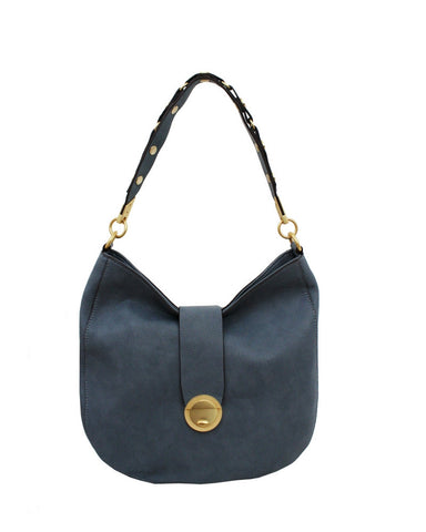 WILDHEART LIBERATED LEATHER HOBO IN BLUE INFINITY