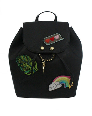 City Instincts Backpack in Black with Patches