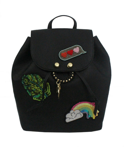 CITY INSTINCTS BACKPACK IN BLACK WITH PATCH
