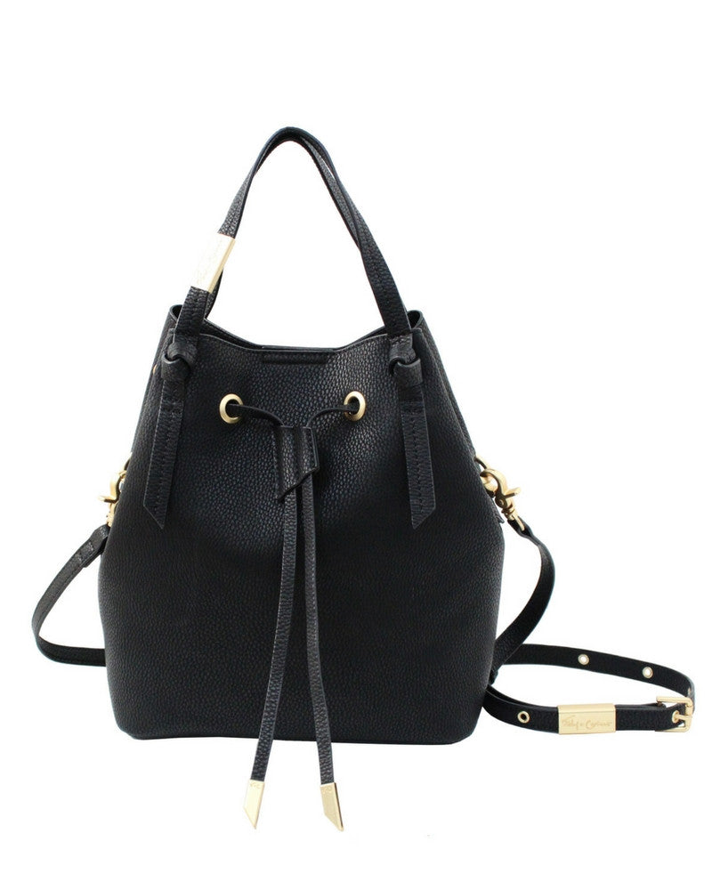 WILDHEART SMALL DRAWSTRING TOTE IN BLACK