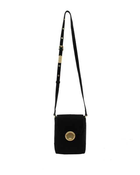 SEDONA SUNSET LIBERATED LEATHER PHONE BAG IN BLACK