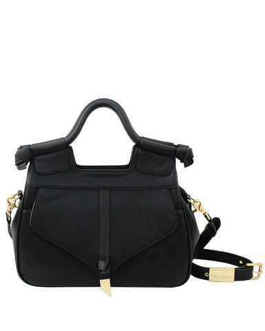 BRITTANY LIBERATED LEATHER SATCHEL IN BLACK