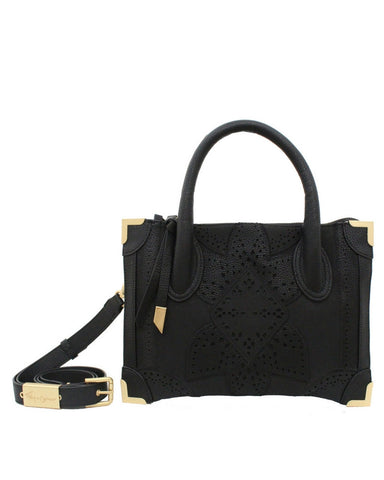 SEDONA SUNSET FRANKIE LIBERATED LEATHER SMALL SATCHEL  IN BLACK