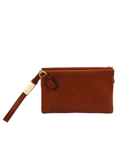 CACHE LIBERATED LEATHER CROSSBODY IN COGNAC
