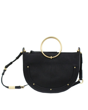 Tyler Crescent Satchel in Black