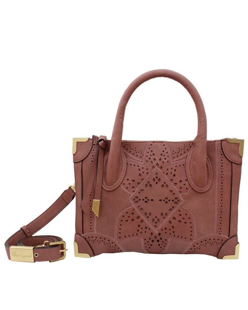 SEDONA SUNSET FRANKIE LIBERATED LEATHER SMALL SATCHEL  IN ROSEWOOD