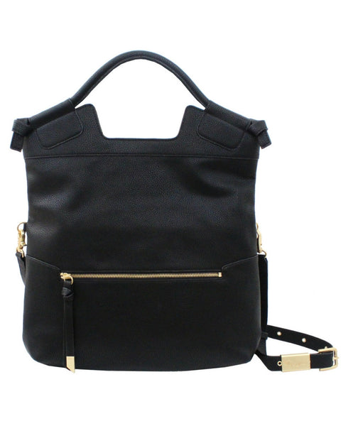 MID CITY  LIBERATED LEATHER TOTE IN BLACK