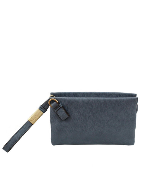 CACHE LIBERATED LEATHER CROSSBODY IN BLUE INFINITY