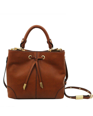 DEVON SQUARE LIBERATED LEATHER SATCHEL IN COGNAC