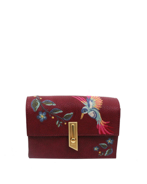 MA CHERIE TAYLOR EMBROIDERY CROSSBODY IN BERRY SANGRIA
