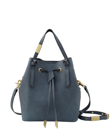 WILDHEART SMALL DRAWSTRING TOTE IN BLUE INFINITY