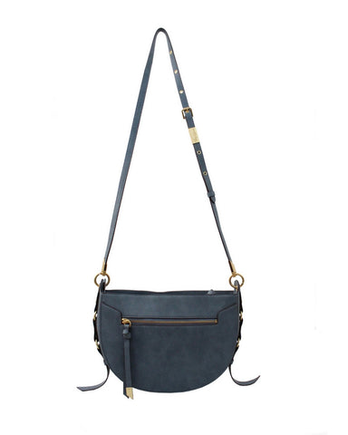 WILDHEART LIBERATED LEATHER CROSSBODY HOBO IN BLUE INFINITY