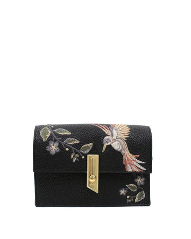 MA CHERIE TAYLOR EMBROIDERY CROSSBODY IN BLACK