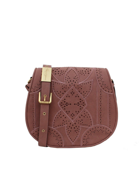 SEDONA SUNSET LIBERATED LEATHER SADDLE BAG IN ROSEWOOD