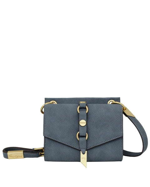 WILDHEART LIBERATED LEATHER MINI CROSSBODY IN BLUE INFINITY