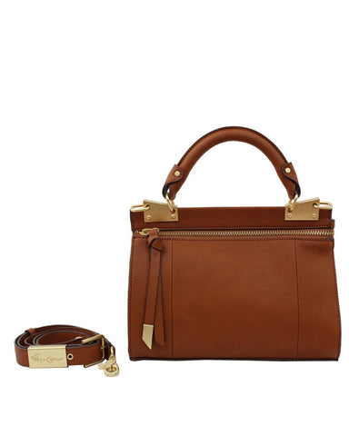 DIONE LIBERATED LEATHER SMALL TOP HANDLE IN COGNAC