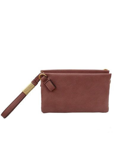 CACHE LIBERATED LEATHER CROSSBODY IN ROSEWOOD