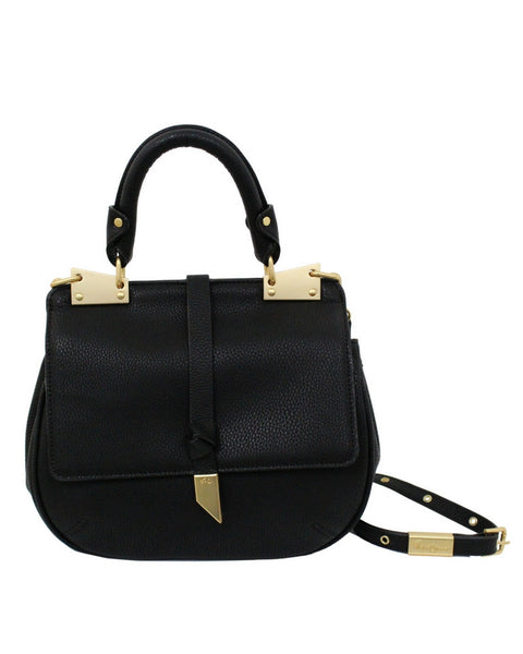 DIONE LIBERATED LEATHER SADDLE  BAG IN BLACK