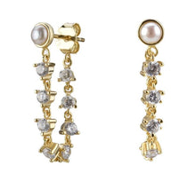 Load image into Gallery viewer, Pearl Chain Stud  Earrings
