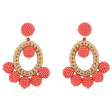 Load image into Gallery viewer, coral bohemian beaded earring