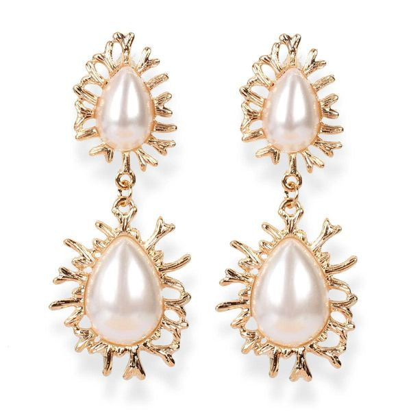Faux Pearls Double Drop Earrings