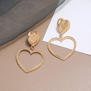 Double Gold Heart Earrings