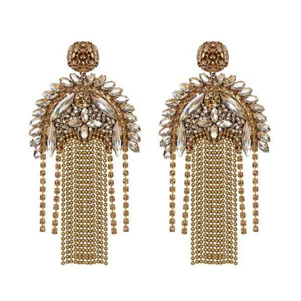 Gold Paulette Earrings by Deepa