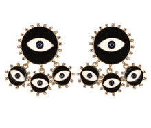 Load image into Gallery viewer, Black Evil Eye Fringe Earrings