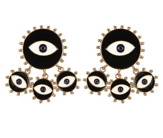 Black Evil Eye Fringe Earrings