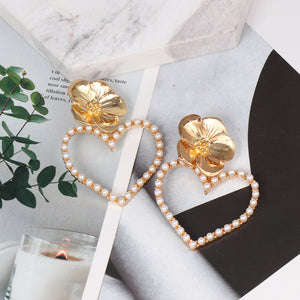 Flower Pearly Heart Earrings