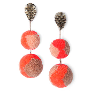 Double Pom Pom Earrings