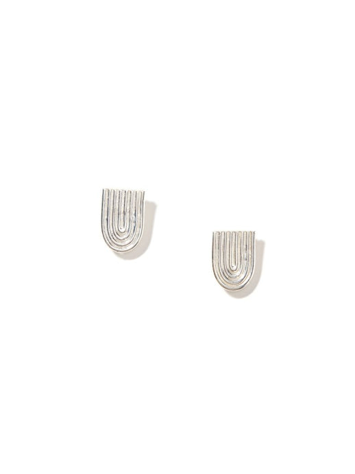 Flat Ellipse Stud Earrings