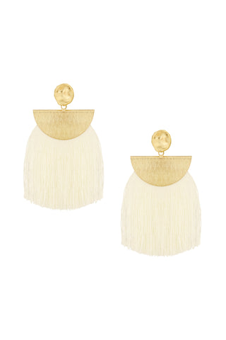 Lydia Wide Tassel Fringe Earrings