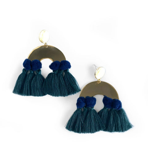 Havana Pom Statement Earrings