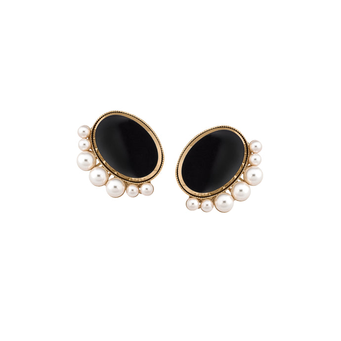 Oval Disc & Pearl Studs