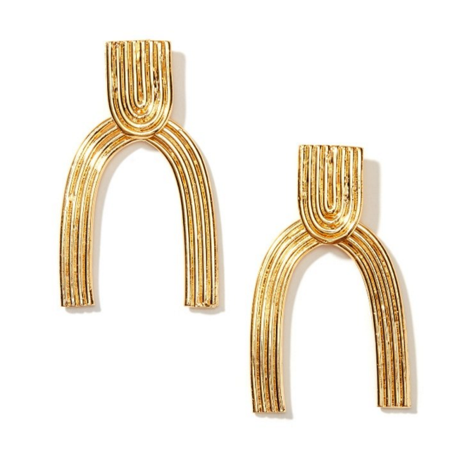 Ellipse Stud Drop Earrings