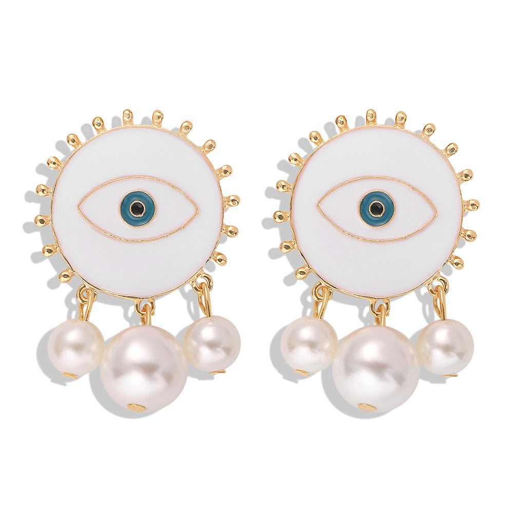 White Evil Eye Pearl Earrings