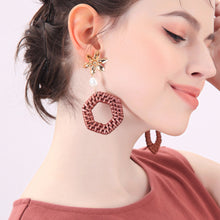 Load image into Gallery viewer, Weaved and Flower Earrings
